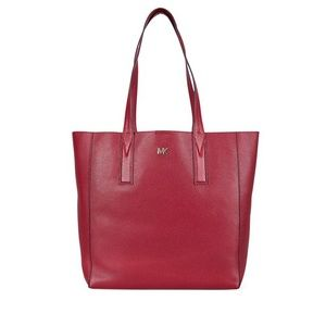 Michael Kors Tote Junie Pebbled Leather Maroon Red